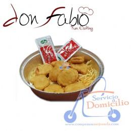 Entrantes Don Fabio Nugget de pollo (10 und)  Acompañado de patatas y salsa barbacoa