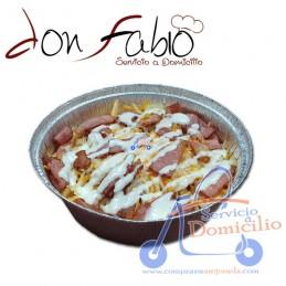 Entrantes Don Fabio Bacon and chesse fries  Patatas con bacon con mixtura 4 quesos y salsa cesar.
